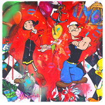 tableau pop art bizarre drôle coloré animaux personnages cartoon dessin animé