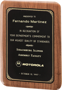"7"" x 9"" Solid American walnut plaque with a precision elliptical edge and a black or brushed brass plate with printed border."