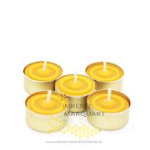 5 Bienenwachs Teelichter mit goldener Aluhülse