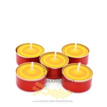 5 Bienenwachs Teelichter mit roter Aluhülse