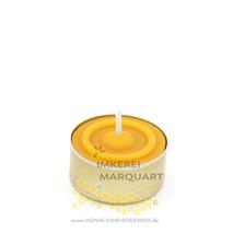 Bienenwachs Teelicht mit goldener Aluhülse