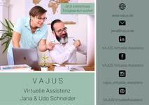 Flyer Vajus Virtuelle Assistenz Vorderseite