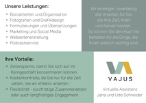 Flyer Vajus Virtuelle Assistenz Rückseite