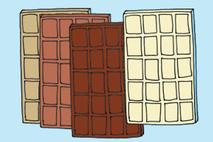verschiedene Tafeln Schokolade Zeichnung
