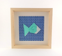 Cadre origami Poisson - Format 20x20cm - 34€