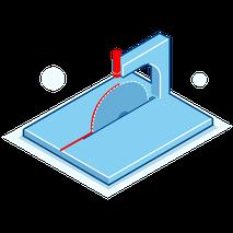 En linjelaser markerar sågklingans skärkant på materialet. Laserlinjen fungerar som ett positionerings- eller inriktningshjälpmedel för alla material