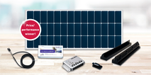 The DCsolar Ecolux Set complete set, with charge controller, retaining spoiler, adhesive set, cable set, roof lead-through and installation instructions. The perfect complete set for motorhomes, campers, caravans and vans for subsequent self-installation.