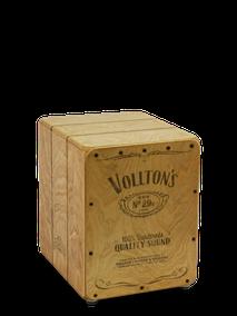 """Vollton-Cajon, Front: Birke, 3-lagig, von Hand bedruckt Korpus:  Birke, """"Used""""-Design Größe:  Super-Mini, 28 x 22 x 26 cm"""