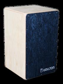 Vollton-Cajon, Front: Designfurnier Vogelaugen Ahorn Blau Korpus:  Birke, hell geölt