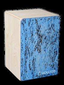 Vollton-Cajon, Front: Designfurnier Vogelaugen Birke, zusätzlich Spinellblau geölt Korpus:  Birke, hell geölt