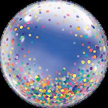 Ballon Luftballon bubble durchsichtig clear Konfetti blau rosa bunt gold Heliumballon Helium Geschenk Geburtstag Versand selbst befüllen