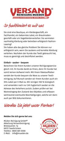Versandreinigung-mueden.de, Kleiderverleih-Reinigung, Flyer Seite #3