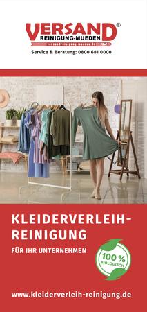 Versandreinigung-mueden.de, Kleiderverleih-Reinigung, Flyer Seite #1