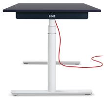 Eliot Tisch mit weißem Gestell und Tischplatte Anthrazit