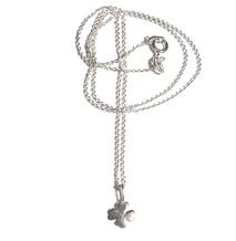 Da schau mal GLÜCK für Deinen Hals. 925 Sterlingsilberkette kleines Kleebatt