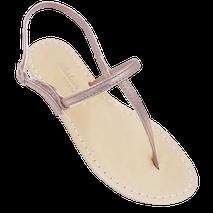 Sandali stile minimal modello ermes colore oro-rosa, realizzati da Mariarosaria Ferrara ad Iischia.
