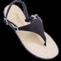 sandali modello Sofia Loren colore nero in vera pelle e cuoio di Mariarosaria Ferrara Ischia .