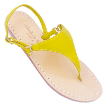Sandali classici a forma di triangolo modello Sofia colore giallo di Mariarosaria Ferrara Ischia.