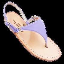 Sandali stile Capri modello Sofia colore lilla realizzati nella bottega artigianale di Mariarosaria Ferrara ad Ischia.