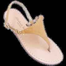 sandali n vero cuoio artigianali colore camoscio beige modello triangolo Sofia.