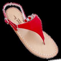 sandali infradito modello Sofia Loren triangolo colore rosso, by Mariarosaria Ferrara Ischia.