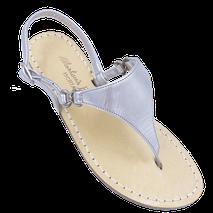 sandali tradizionali capresi modello Sofia colore argento triangolo fatti a mano di Mariarosaria Ferrara.