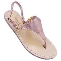Sandali artigianali modello Sofia Loren colore oro rosa  fatti a mano in vero cuoio di Mariarosaria Ferrara Ischia.