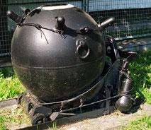 野外博物館の機雷展示