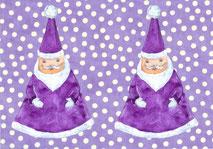 Grußkarte Weihnachtsmann lila Weihnachten