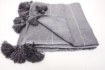 handmade handwoven moroccan berber kleed katoen cotton throw blanket pompon sprei marokko deken