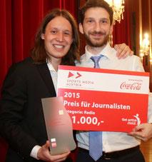 Pirmin Styrnol und Christian Weiner beim österreichischen Sportjournalistenpreis 2015