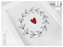 Stickdatei Stickmuster Embroidery Maschinensticken Doodle Applikation Kreis Ranke Herz 20x20