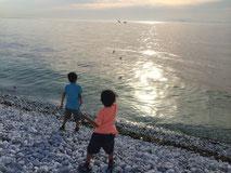夕日のマーブルビーチ 石が飛びます