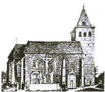 Die Nordseite der Propsteikirche mit der Kalvariengruppe nach der Wiedererrichtung nach einem Brand im Jahr 1643