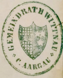 Stempel «Gemeindrath Wittnau, C. Aargau» (1869, Gemeindearchiv Wittnau)
