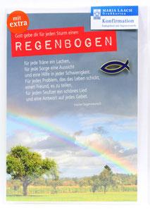 Karte zur Konfirmation Regenbogen & Fisch Anstecker