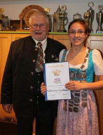 Sabrina Gaßner mit Helmut Hofmann (1.Gaujugendleiter)
