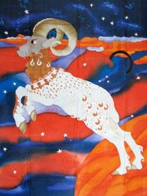 Le Bélier - Peinture sur Soie, Marie Claude Dessailly