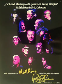 A reminder of the exhibition, dedicated to me by Deep Purple bassist Roger Glover