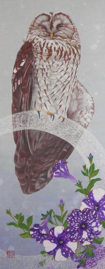「あすの夜空」546x220mm 和紙・膠・岩絵具・墨・胡粉・金泥