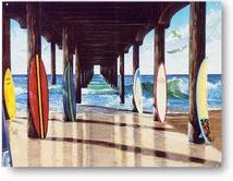 〈ブリキ看板〉桟橋の下のサーフボード