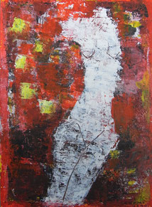 Torso on  Red   22×16cm Aqyla on paperboard