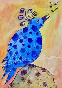 Blauer Vogel singt, Illustration von silvanillion