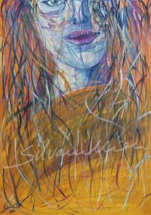 Porträt Mädchen, Acrylbild von silvanillion