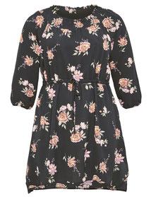 kurzes Carmen-Kleid schwarz mit Blumenmuster
