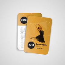 Calendarios de bolsillo de 85x55 mm. Impresos a todo color por ambas caras.
