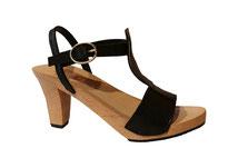 modèle de sabots et sandale d'été sur haut talon et semelle bois, réalisé à la main et sur mesure par isa, des sabots d'isa, fabricant de chaussures sur mesure