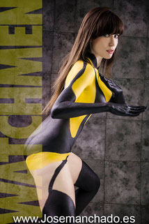 silk spectre, watchmen, bodypaint, bodypaint madrid, body paint, bodypaint silk spectre
