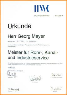 Zertifikate/ Zertifizierungen, Kanalservice Georg Mayer