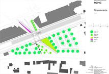 Grünkonzept für eine Eisenbahnüberführung